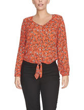 Chaus Orange Giraffe Print Top