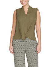 Chaus Green Twist Front Woven Top