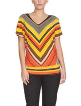 Chaus Multicolor Tanzania Striped Print Top