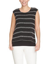 Chaus Textured Striped Layered Top