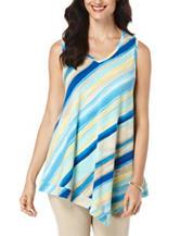 Rafaella Diagonal Striped Print Knit Top
