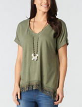 Democracy Green Fringe Knit Top