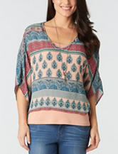 Democracy Mixed Print Layered-Look Poncho Top