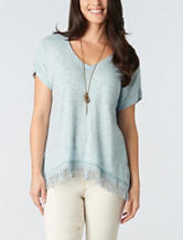 Democracy Fringe Trim Sharkbite Knit Top