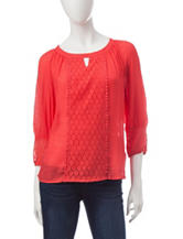 Zac & Rachel Lace Accent Woven Top