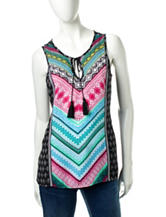 Zac & Rachel Mixed Print Tassel Detail Top