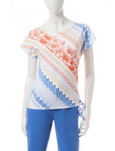 Hearts of Palm Lace Print Tie Accent Top