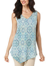 Rafaella Medallion Print Asymmetrical Knit Top
