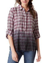 Vintage America Blues Brooke Ombré Plaid Print Top