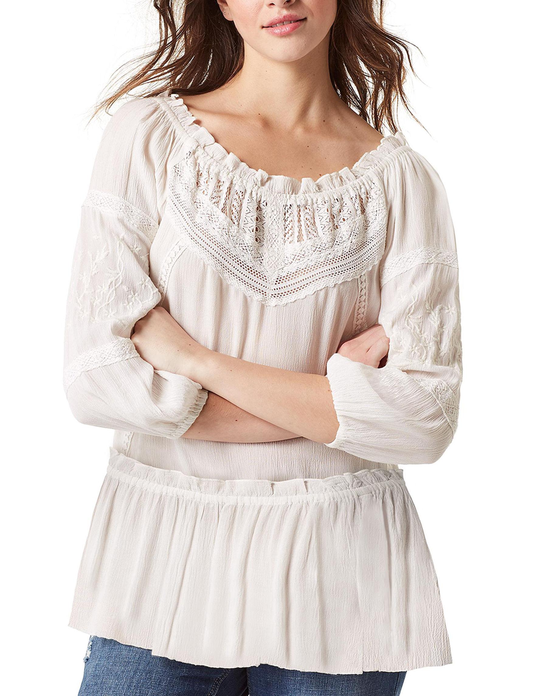 Vintage America Blues White Shirts & Blouses Strapless