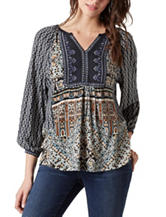Vintage America Blues Alpine Mixed Print Peasant Top