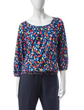 Cathy Daniels Multicolor Brush Stroke Print Top