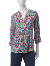 Cathy Daniels Multicolor Ditsy Floral Print Top