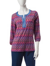 Cathy Daniels Embellished Chevron Print Top