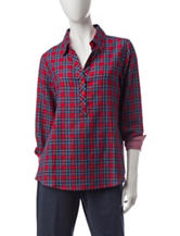 Cathy Daniels Gingham Check Plaid Print Top