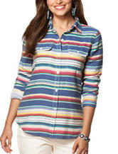 Chaps Serape Striped Woven Top
