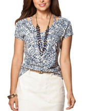 Chaps Abstract Print Cut Out Top