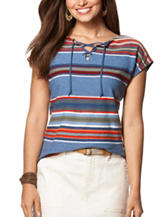 Chaps Striped Print Lace Up Top