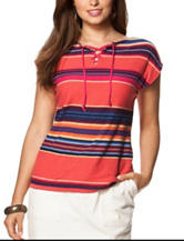 Chaps Fiesta Striped Lace Up Top