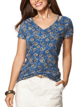Chaps Paisley Print Cut Out Top