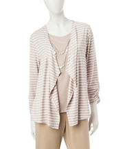 Alfred Dunner Striped Print Layered-Look Top