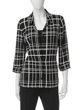 Alfred Dunner Black & White Layered-Look Top