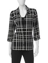 Rebecca Malone Black & White Layered-Look Top