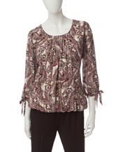 Alfred Dunner Paisley Print Tie Top