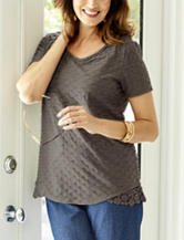 Rebecca Malone Pucker Knit Lace Top