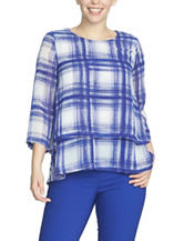 Chaus Plaid Print Double Layer Top