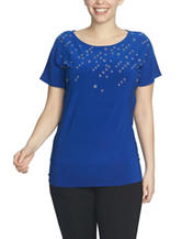 Chaus Grommet Embellished Knit Top