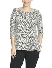 Chaus Zebra Print Burnout Knit Top