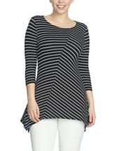 Chaus Striped Print Sharkbite Knit Top