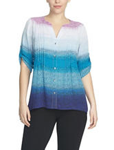 Chaus Ombré Spotted Pintuck Woven Top