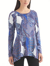 Nine West Jeans Multicolor Paisley Print Top