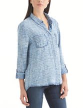Nine West Jeans Rachelle Chambray Woven Top