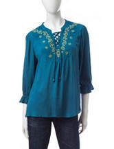 Energé Embroidered Peasant Top