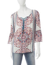 Energé Medallion Print Peasant Top