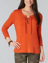 Democracy Lace Up Knit Top