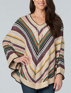 Democracy Chevron Striped Print Poncho Sweater