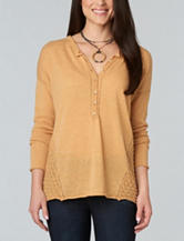 Democracy Crochet Knit Henley Sweater
