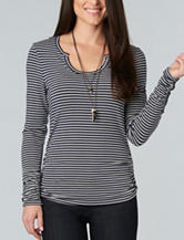 Democracy Ruched Striped Print Knit Top