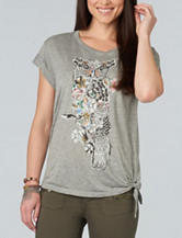 Democracy Owl Screen Print Knit Top
