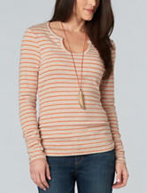 Democracy Striped Print Knit Top