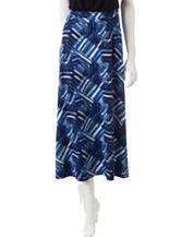 Kasper Multicolor Abstract Print Midi Skirt