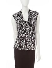 Kasper Black & White Abstract Print Top