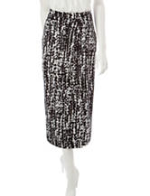 Kasper Black & White Abstract Print Pencil Skirt