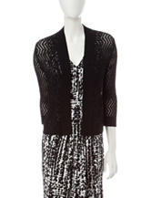 Kasper Black Chevron Knit Cardigan