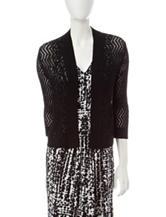 Kasper Black Chevron Knit Cardigan