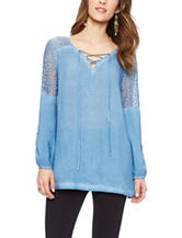 Skyes The Limit Lace Accent Peasant Top